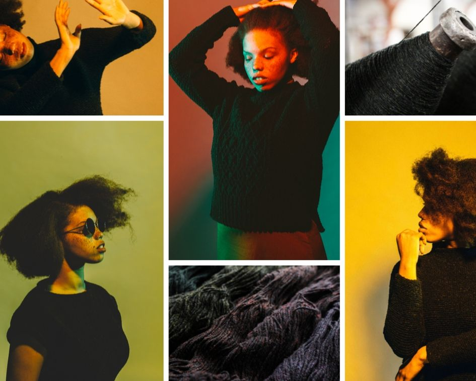 Collage of images of a black skinned woman with freckles wearing black knitted objects