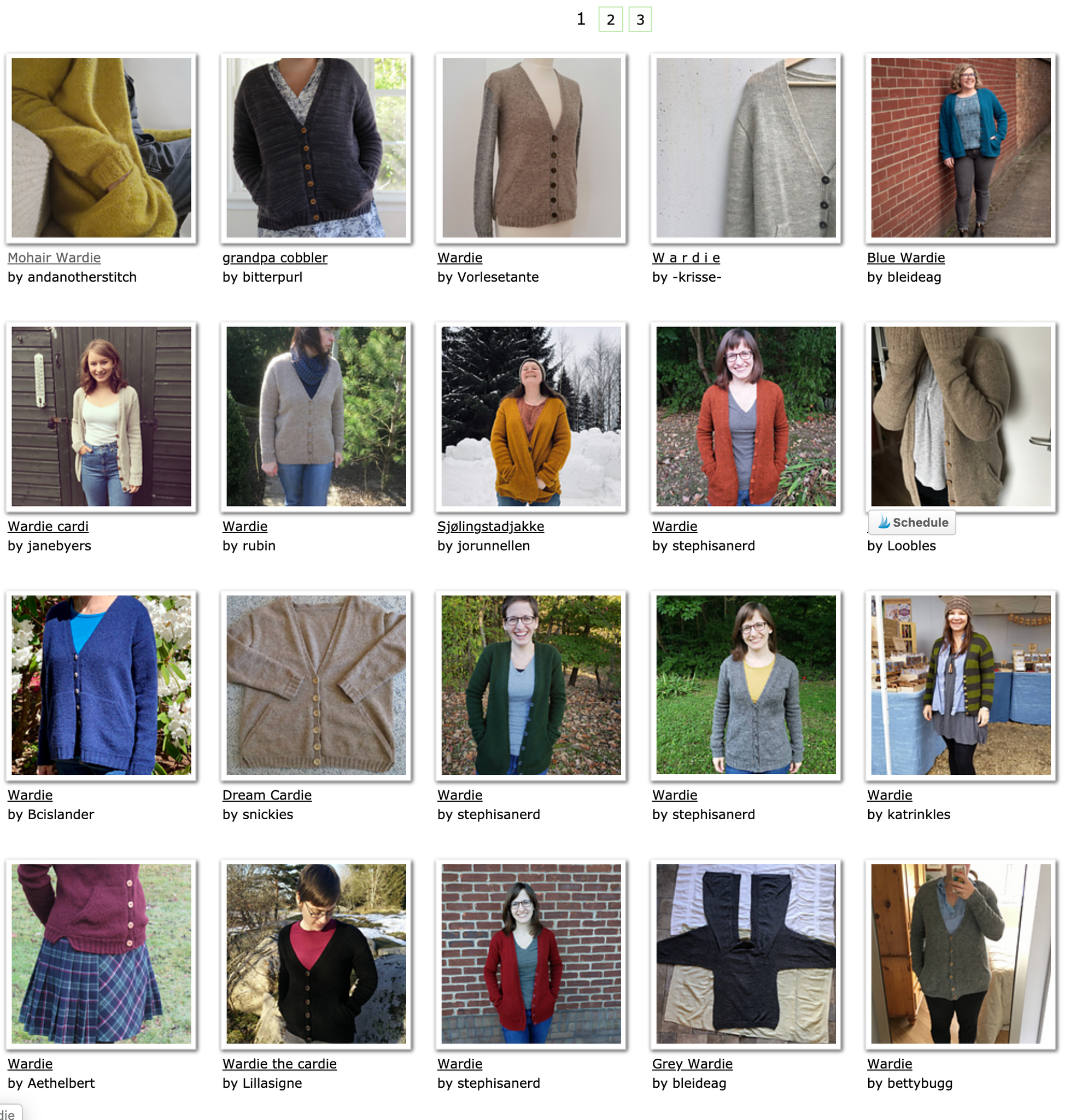 screenshot of Ravelry projects for Wardie cardigan