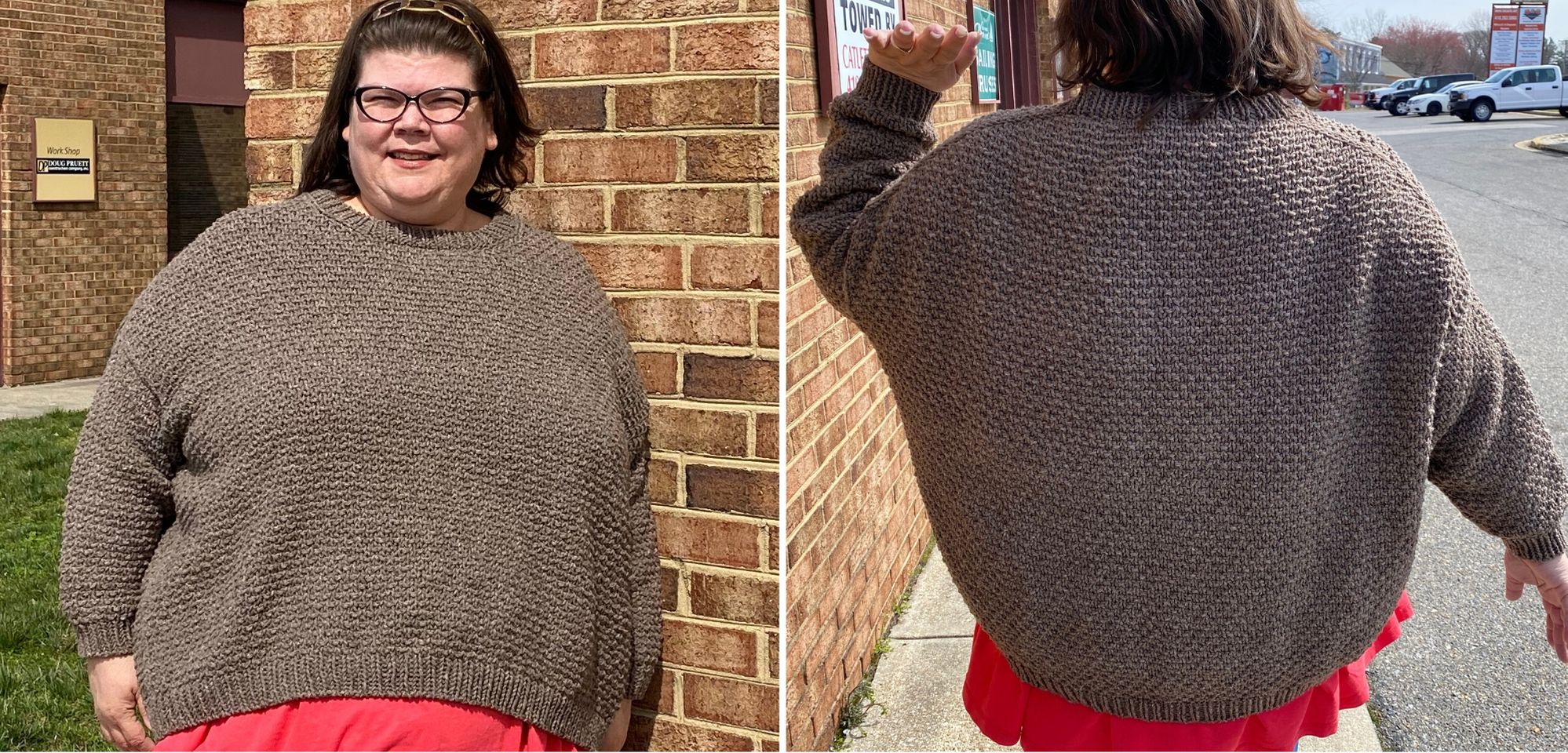 Image of a white skinned fat woman wearing a light peppery brown textured sweater over a coral top. She is smiling while she looks at the camera. Second image of the same woman with her back to the camera, she is holding one are up so you can see how the sweater sits at the side.