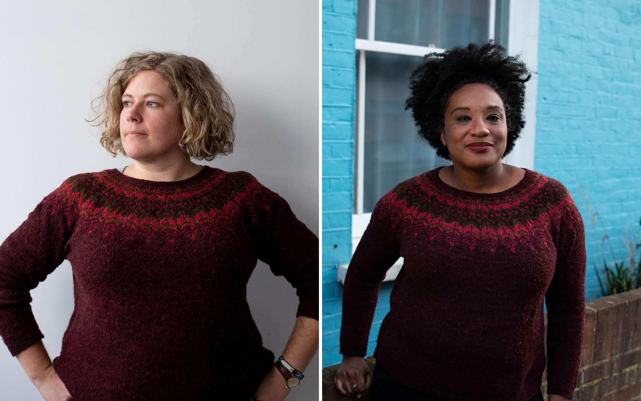 Collage of a Black woman and a white woman both with curly hair wearing the same threipmuir sweater