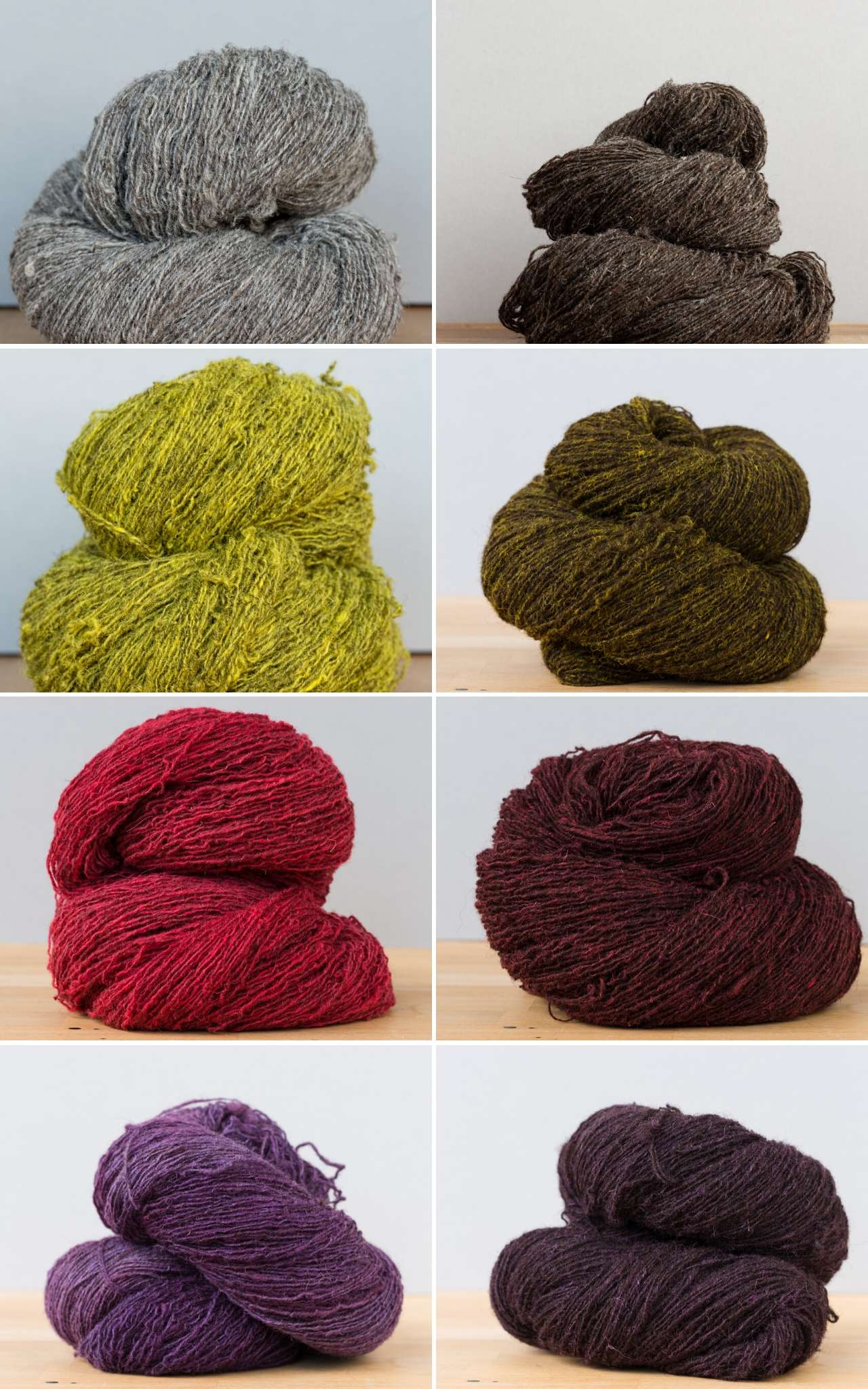 Collage of bundles of yarn, paired in light and dark colours