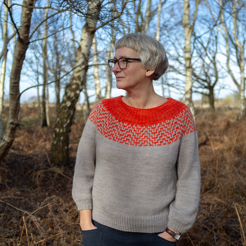 Image of a light skinned woman with grey hair standing in front of some winter trees. She is wearing a grey sweater with a red yoke - the yoke has deep ribbing in red and then a geometric colour work section in red and grey.