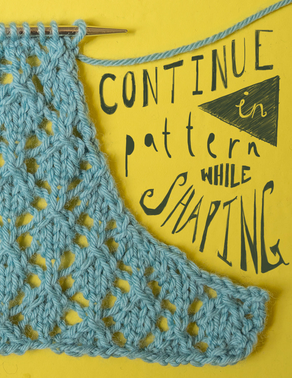 "robins egg blue swatch in geometric lace pattern with armhole-like shaping. Text saying ""continue in pattern while shaping"""