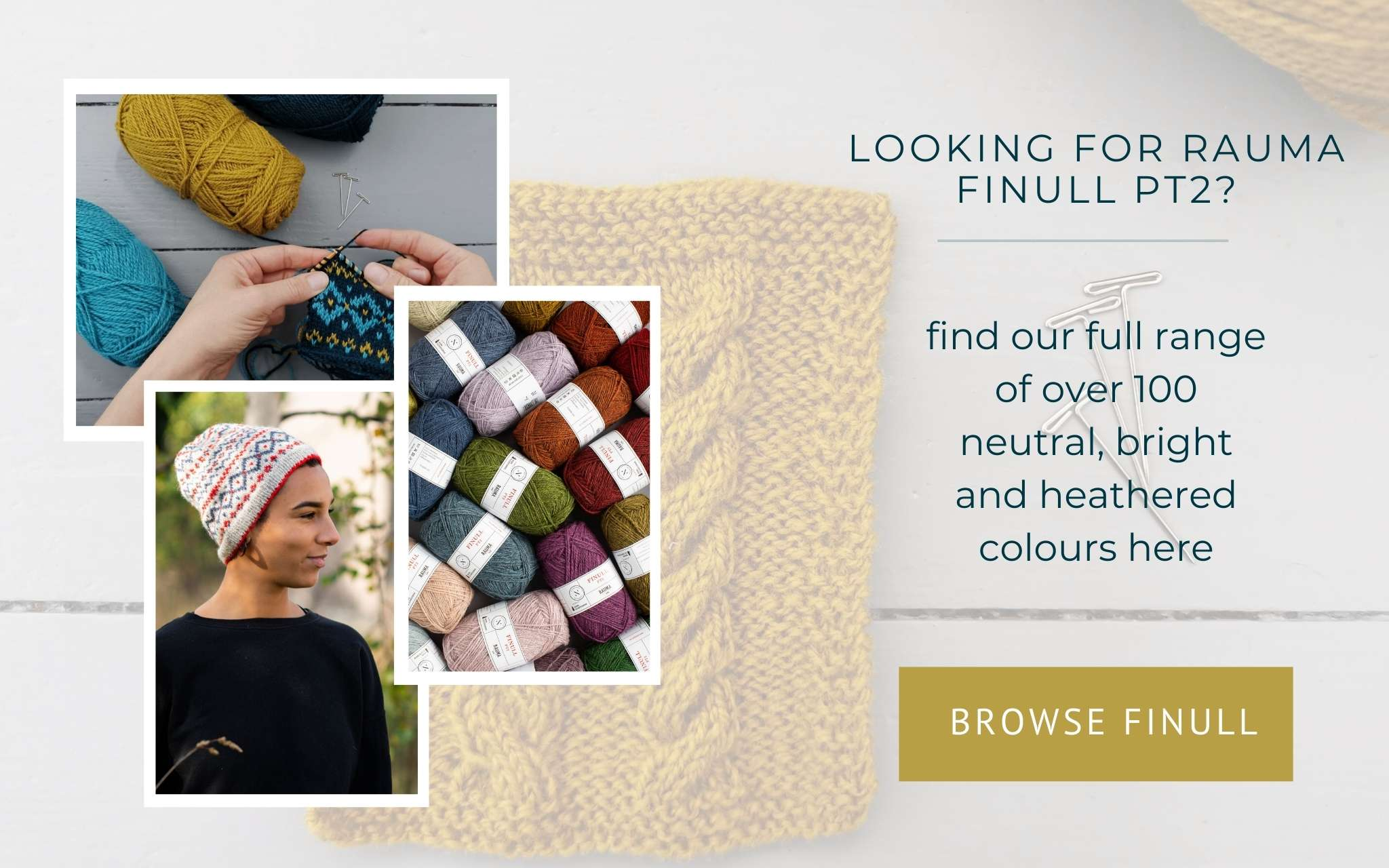 image of hands knitting a swatch, yarn tightly piled together and a model wearing a colourwork hat