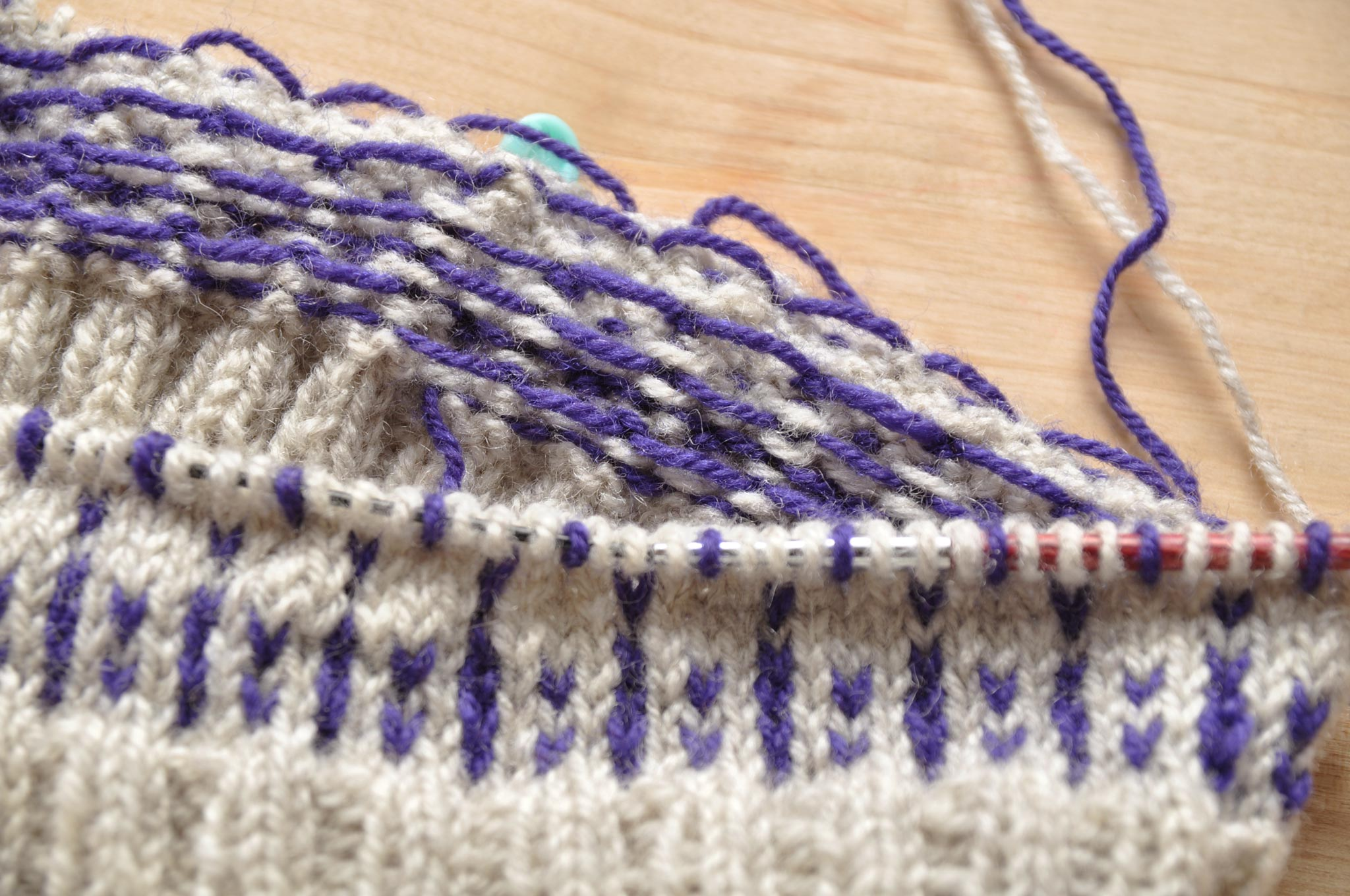 Keep floats loose on the inside of your colourwork project.