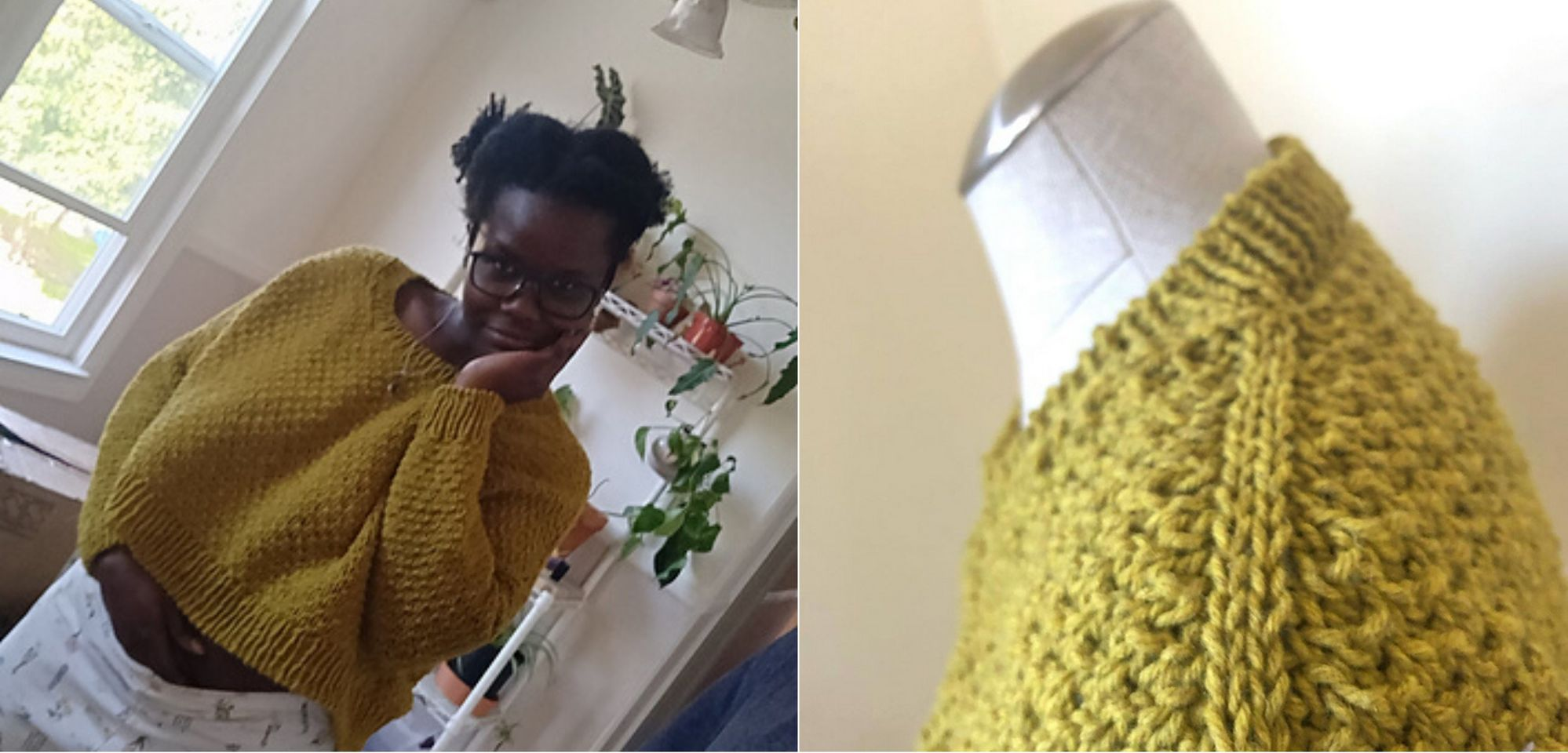 Image of a black skinned woman with dark hair in bunches. She is wearing a cropped yellow sweater over casual pants. The photo is taken at an angle and she is smiling over her hand. Photo on right of the same yellow sweater on a dress form, the photo is a close up of the shoulder detail.