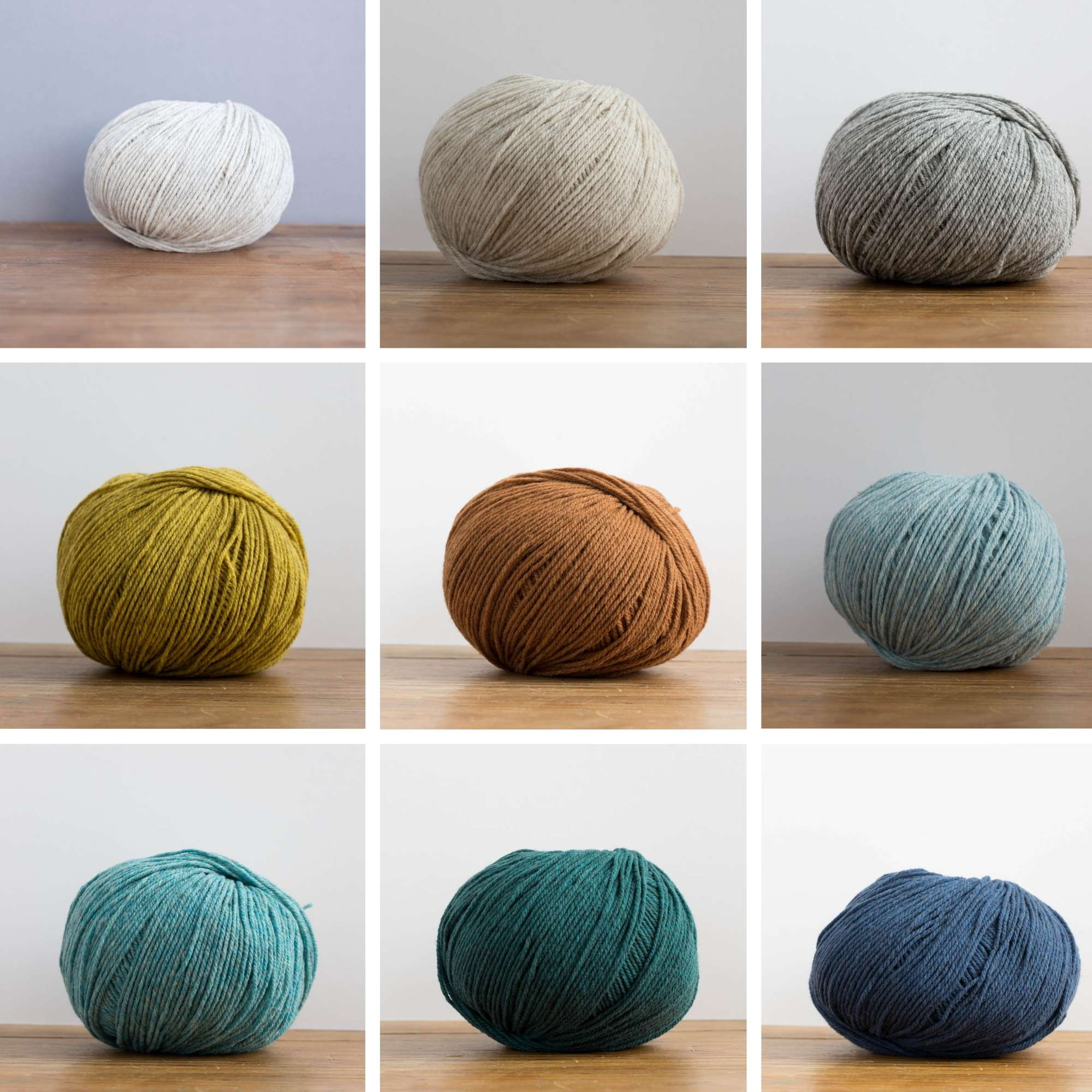 A collage of 9 images showing 9 balls of yarn in a variety of earthy colours.