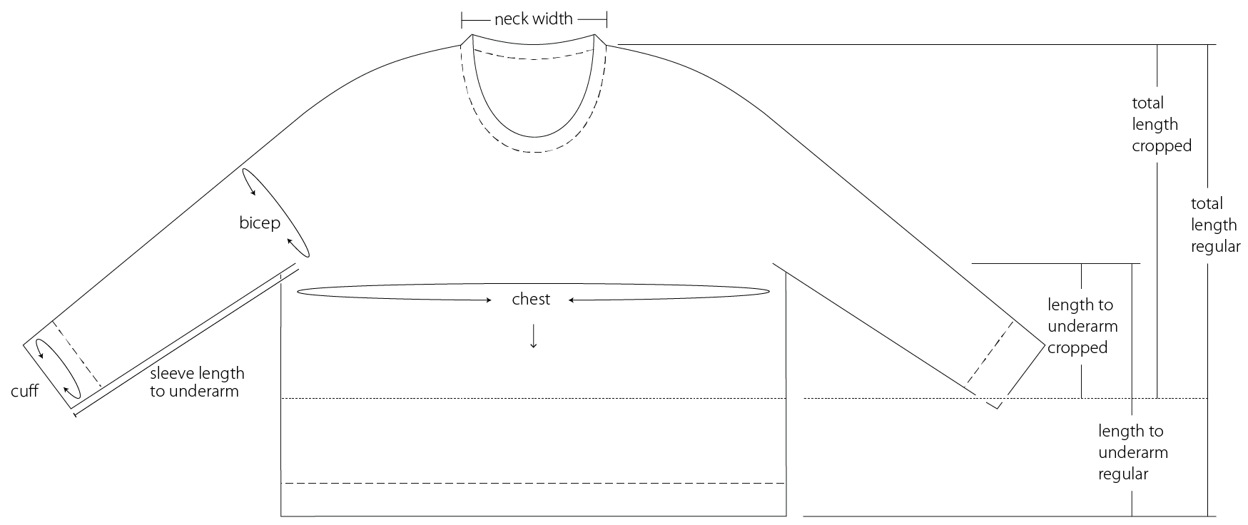 line drawing schematic of Glenmore sweater