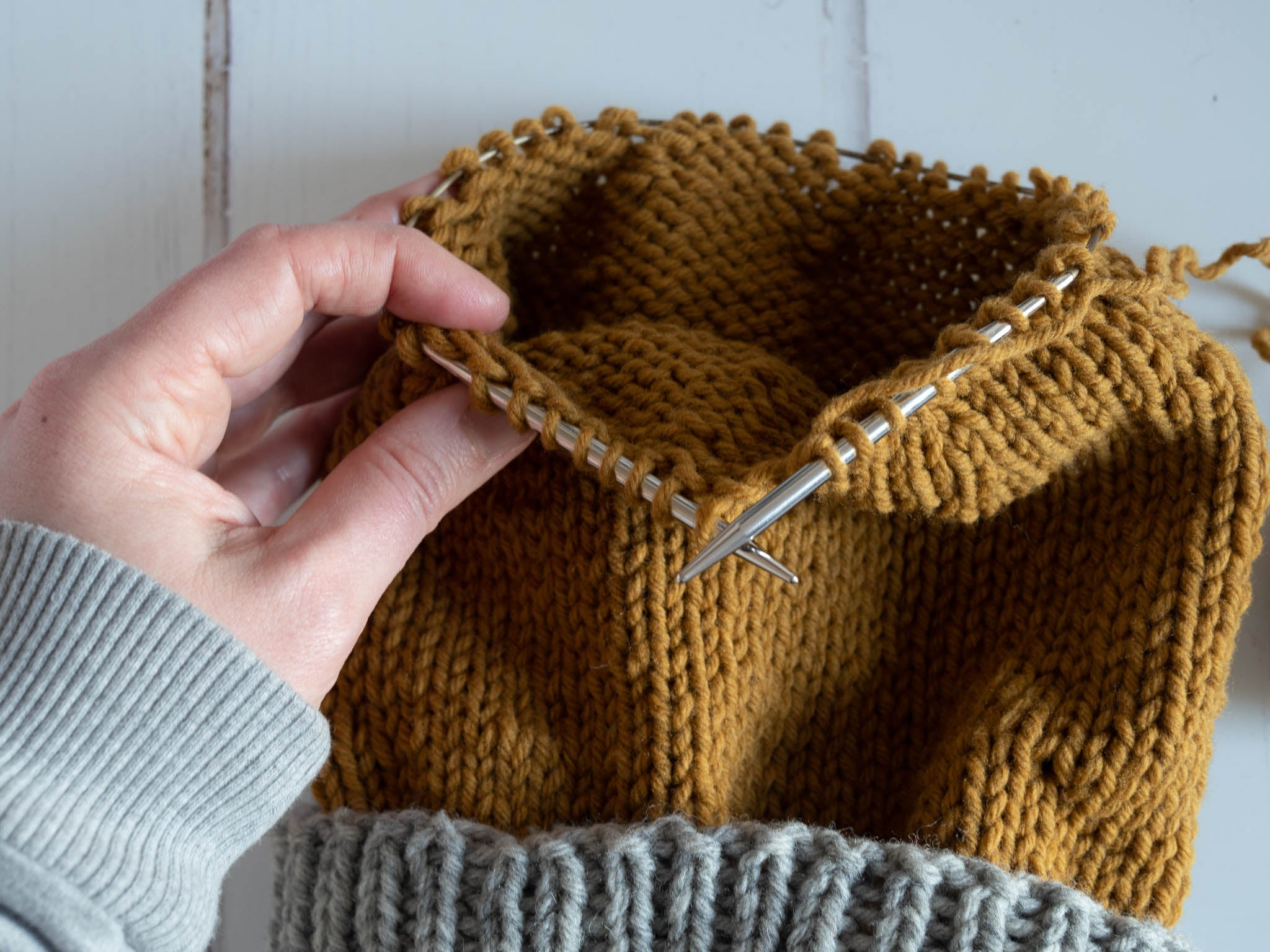 stockinette in the round with the WS also showing
