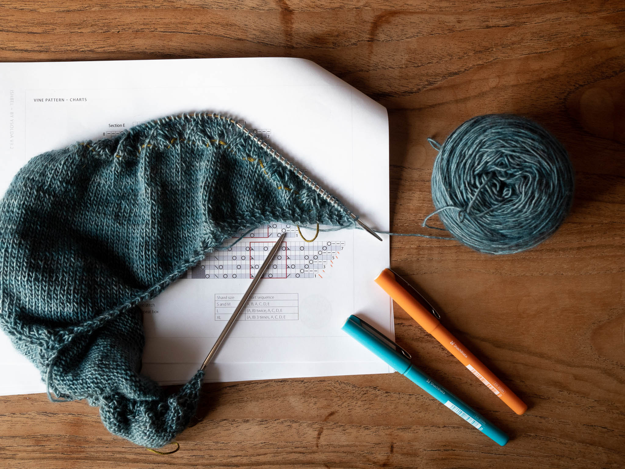 An in progress shawl with a printed chart and pens