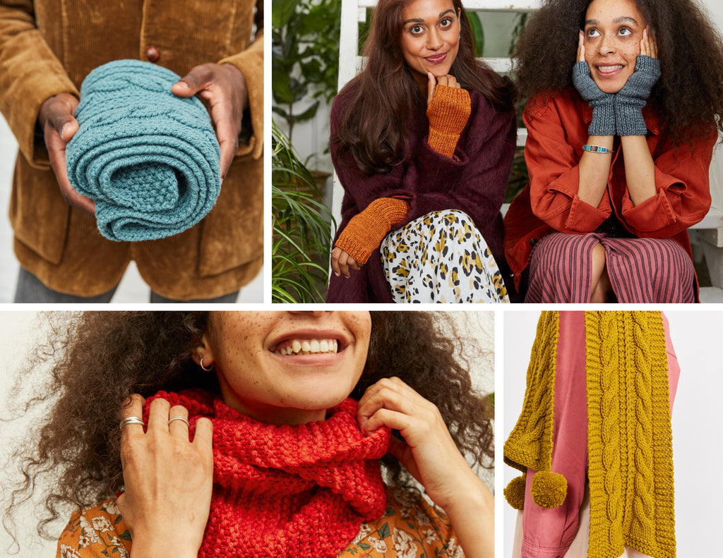 collage of project images from Knit How, featuring: a close up of a person with dark skin holding a rolled up blue scarf, two women with brown skin wearing mitts and smiling, close up of woman wearing cowl and smiling with hands touching the cowl, close up of mustard cabled scarf with pom poms