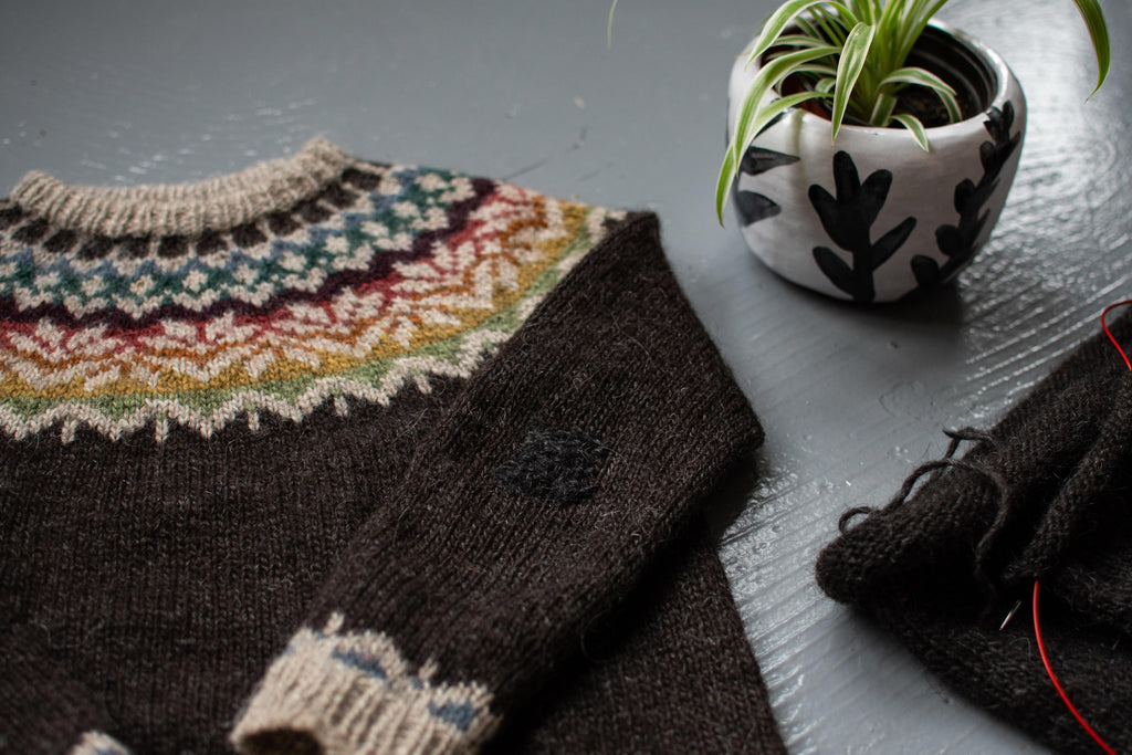 Image of a jumper laid flat with a flat next to it. The Yoke is in rainbow colours.
