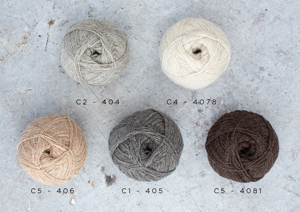 5 balls of yarn labelled with their shade numbers