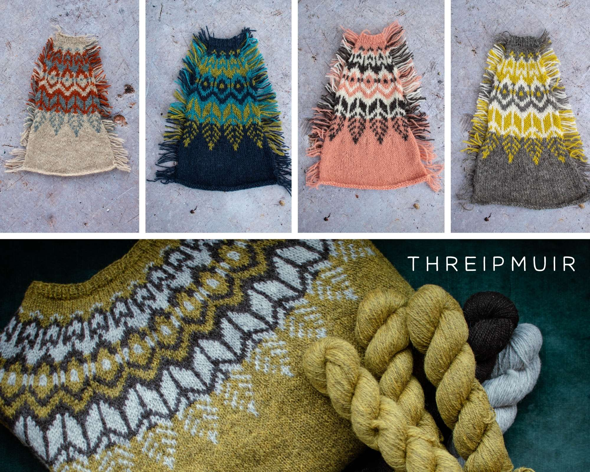 four small images of swatches of a colourwork yoke in different colours, and underneath an image of a folded colouwork yoke sweater with skeins of yarn to the side.