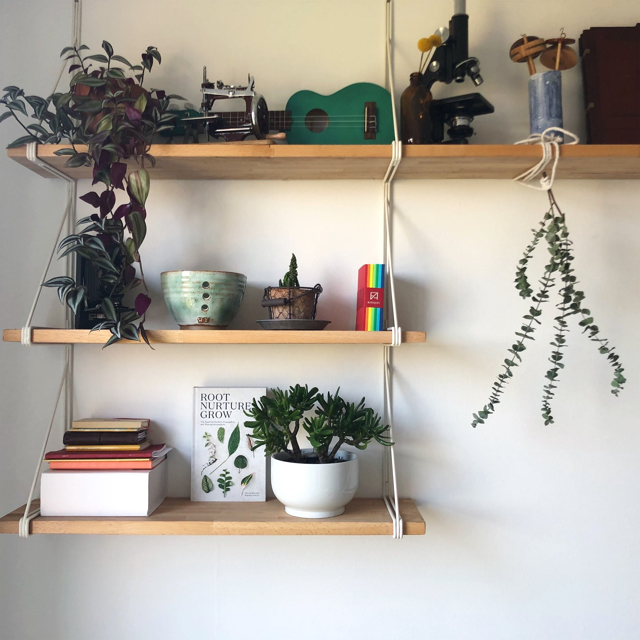 A set of hanging shelves, with healthy plants on all shelves along with some books, a ukulele, a microscope and a vase filled with spindles