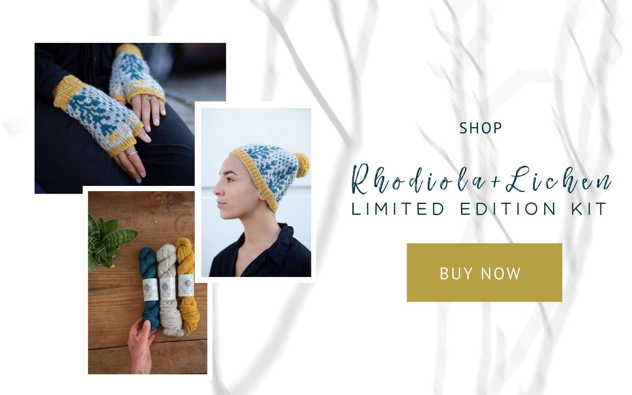 Photos of colourwork mittens, a model wearing a colourwork hat while looking to the side and three skeins of yarn, with a hand reaching into shot to touch one.