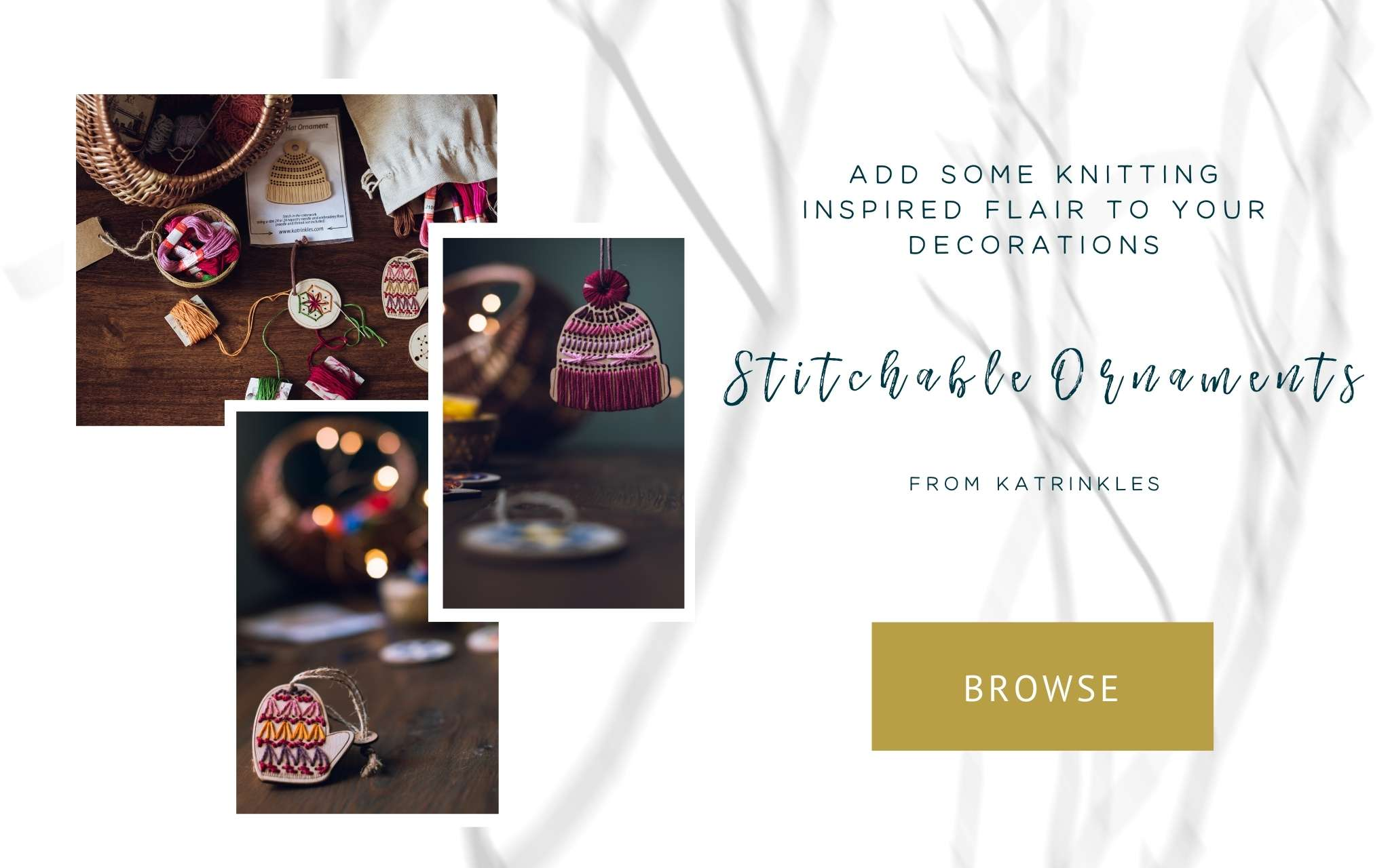 Stitchable ornaments from Katrinkles
