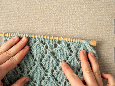 photo showing the re-knit section