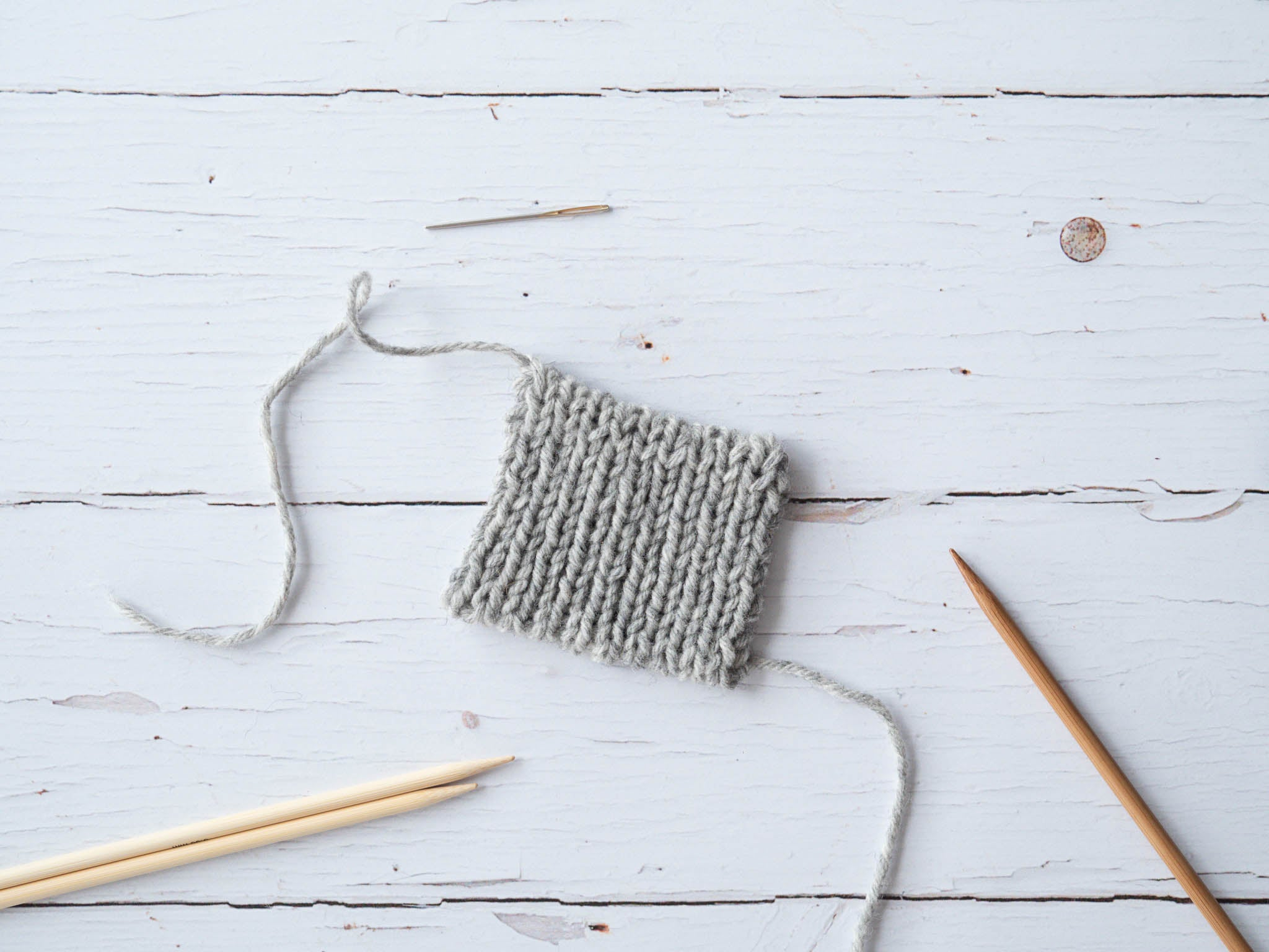 photo of ribbed swatch with tubular cast-on and bind-off