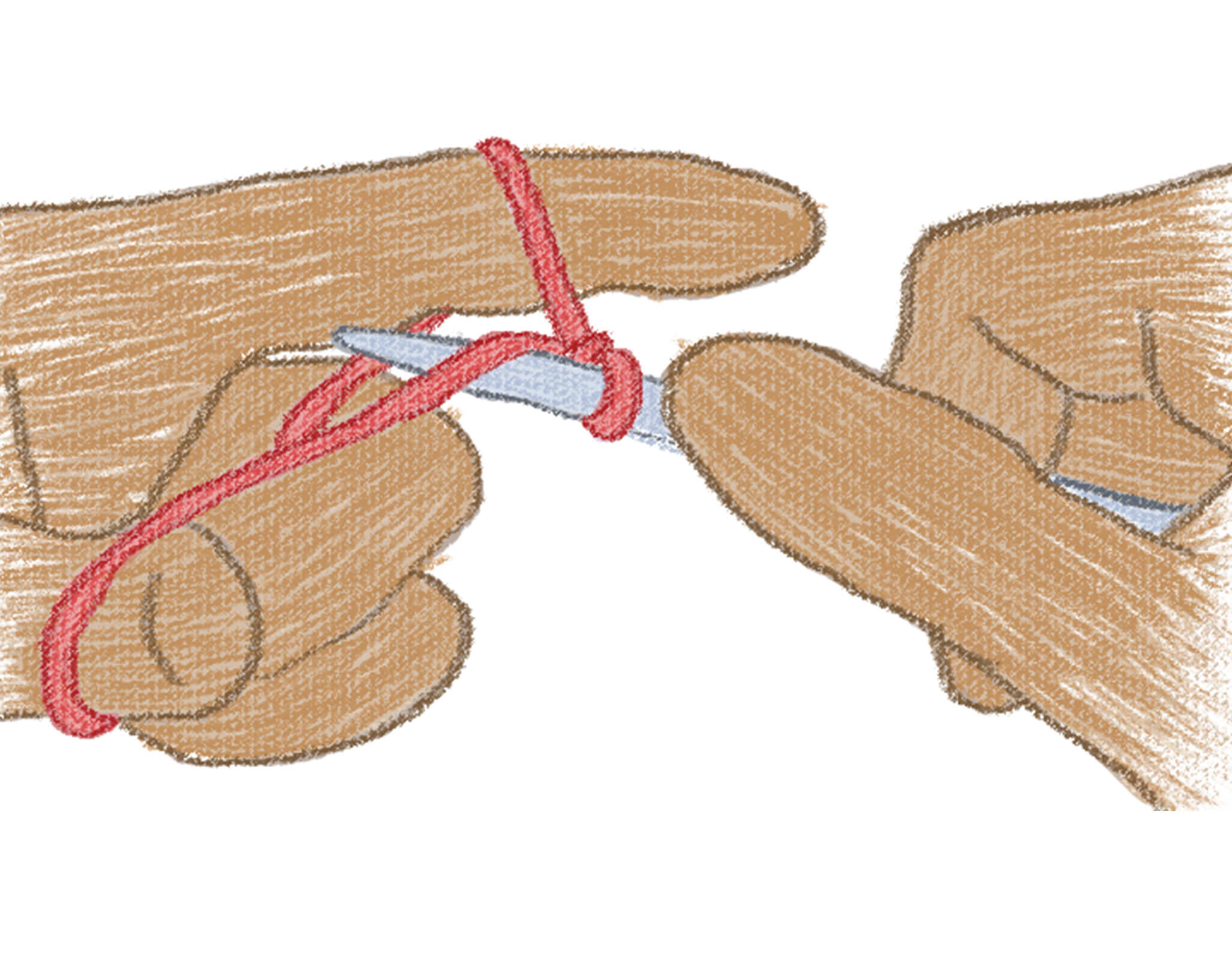 illustration of bringing the needle under the yarn on the index finger