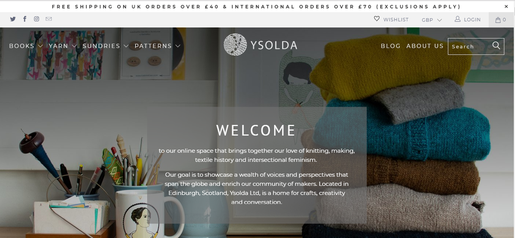 screen shot of the banner at the top of the ysolda.com home page