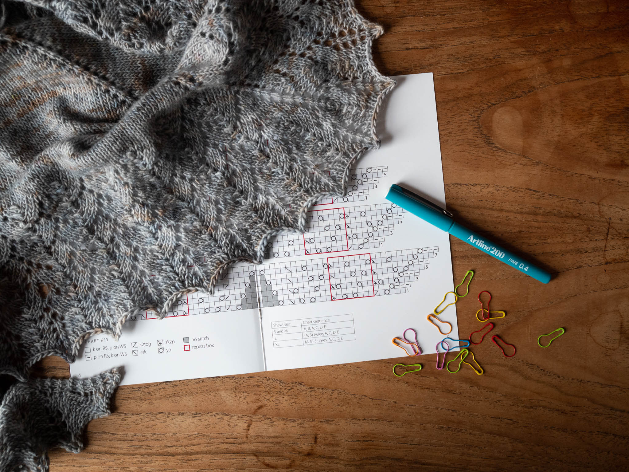 A wooden table with the Ishbel pattern, Ishbel shawl, stitch markers and a pen.