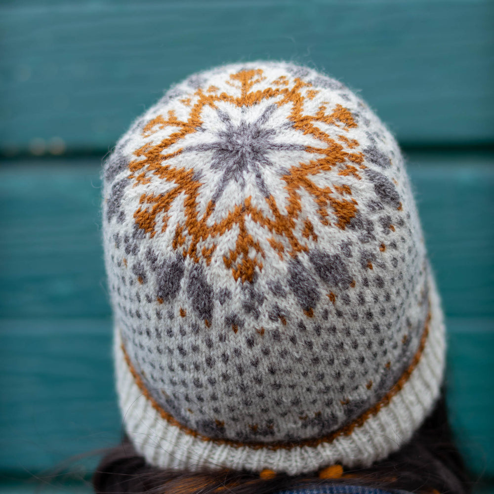 A person with dark hair faces away from the camera, they are wearing a stranded colourwork hat with a star motif on the crown in white, grey, and gold.