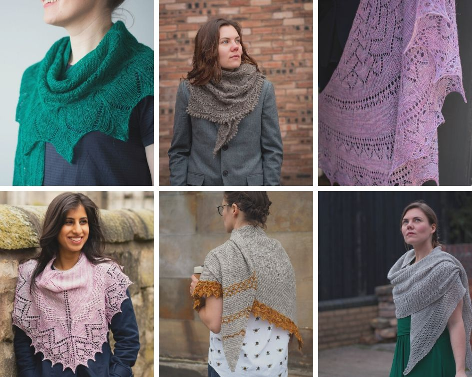 Collage of 6 photos of handknit shawls
