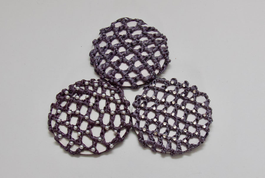 Thick Grey Bun Nets; Plain, Swarovski Crystals and Pearls