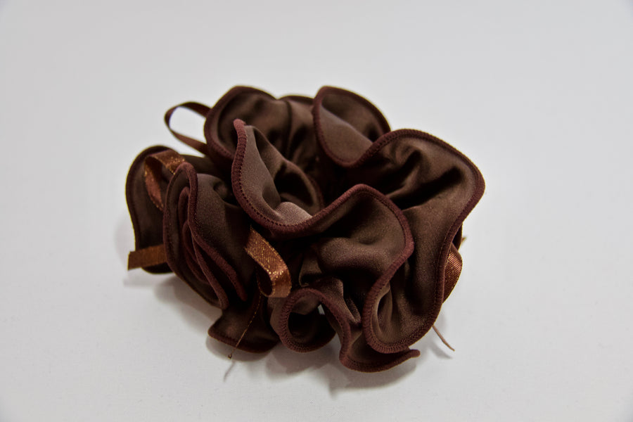 Satin Side Flower Scrunchie