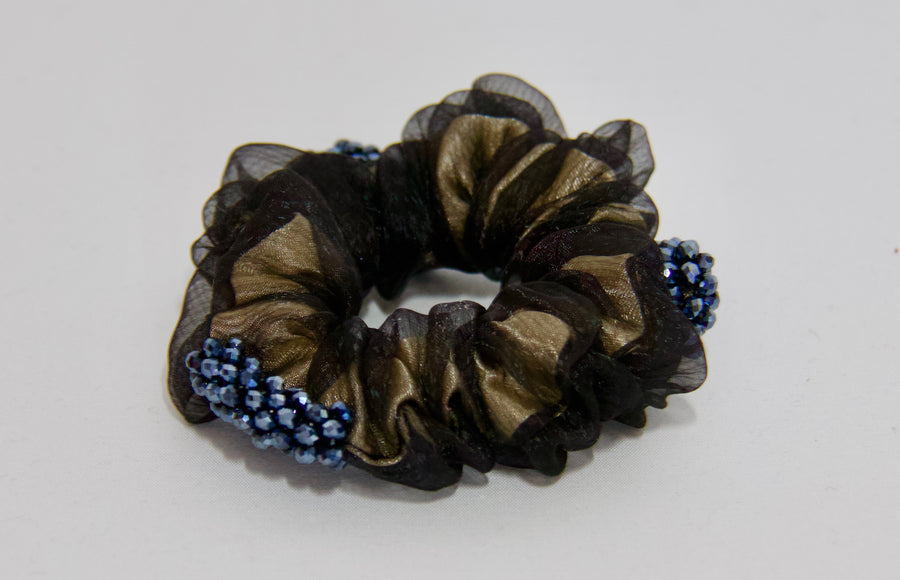 Satin & Chiffon Scrunchie with Cluster Bead Trim