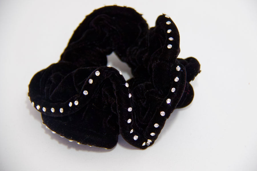 Crystal Edged Velvet Scrunchie