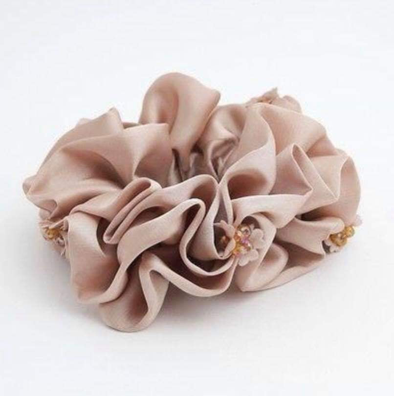 Beaded Petal Luxurious Scrunchie