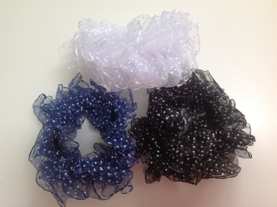 Deluxe Ruffled Polka Dot Scrunchies