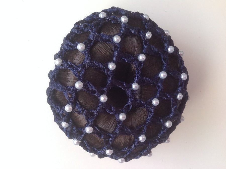 Thick Navy Bun Nets; Plain, Swarovski Crystals and Pearls