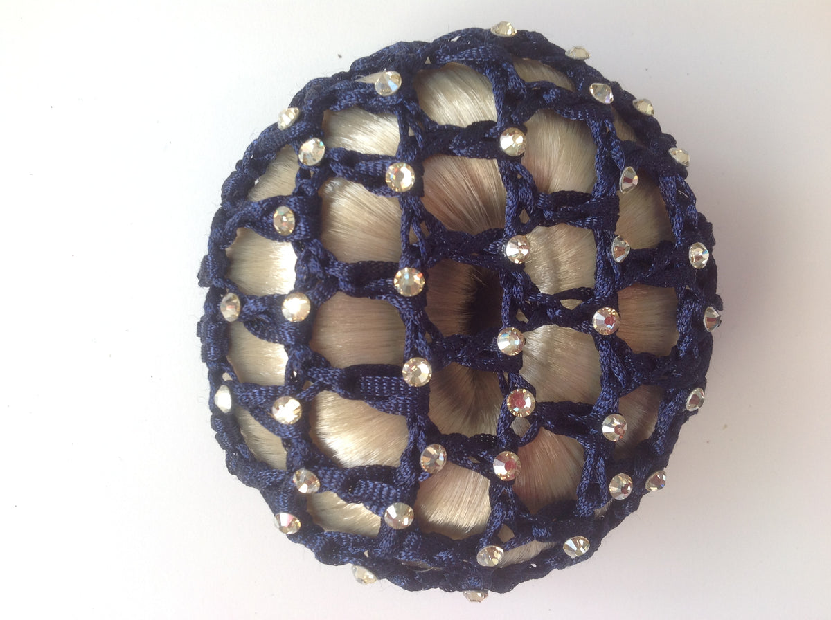 Thick Navy Bun nets, plain, Swarovski Crystals and Pearls