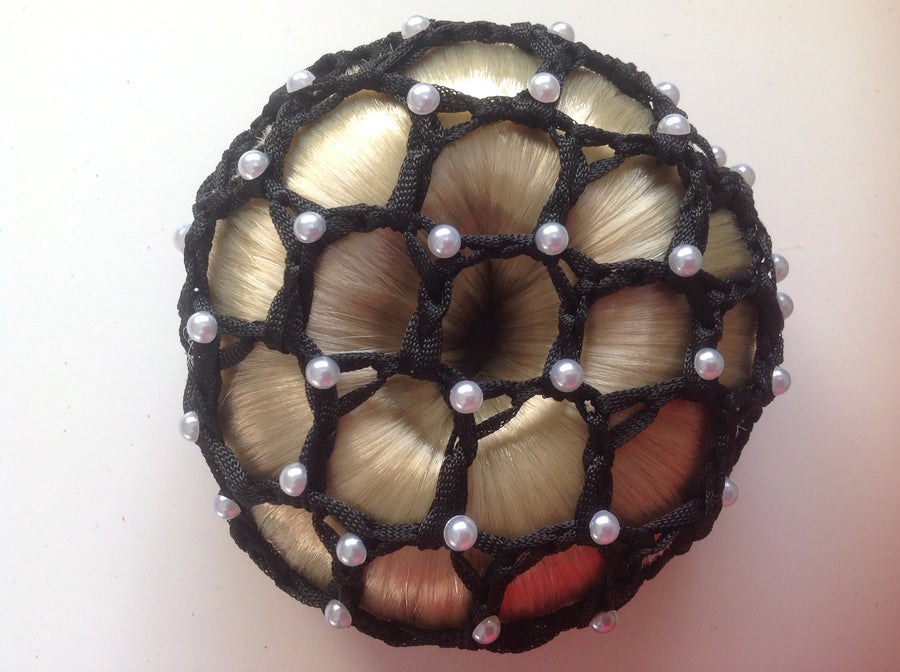 Thick Black Bun Nets; Plain, Swarovski Crystals and Pearls