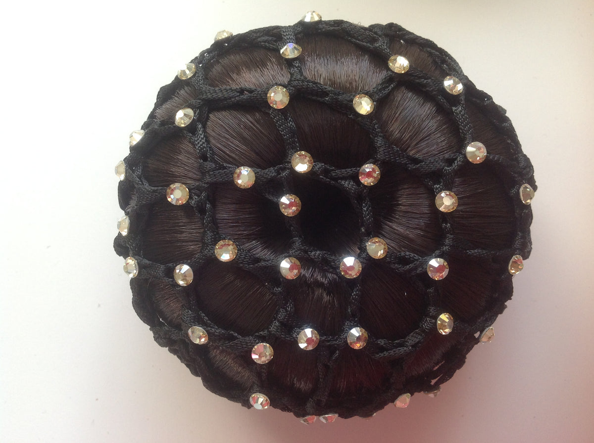 Thick Black Bun nets, plain, swarovski Crystals and Pearls