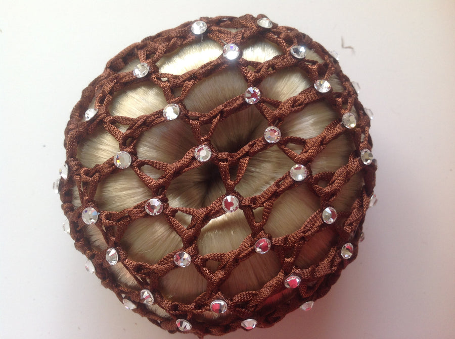 Thick Brown Bun Nets; Plain, Swarovski Crystals and Pearls