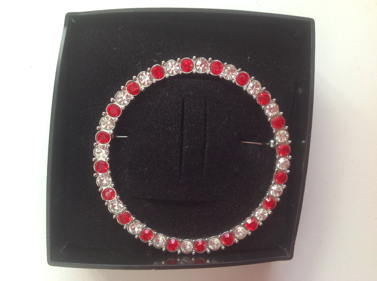 Red and Clear Crystal Circle Stock Pin