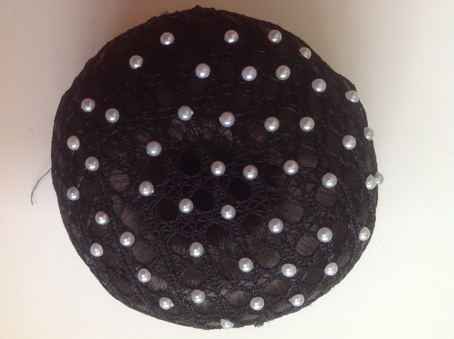 Fine Black Lace bun nets plain, swarovski Crystals and Pearls