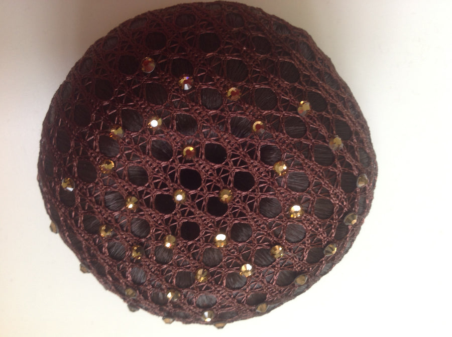 Fine Brown Lace bun nets plain, swarovski Crystals and Pearls