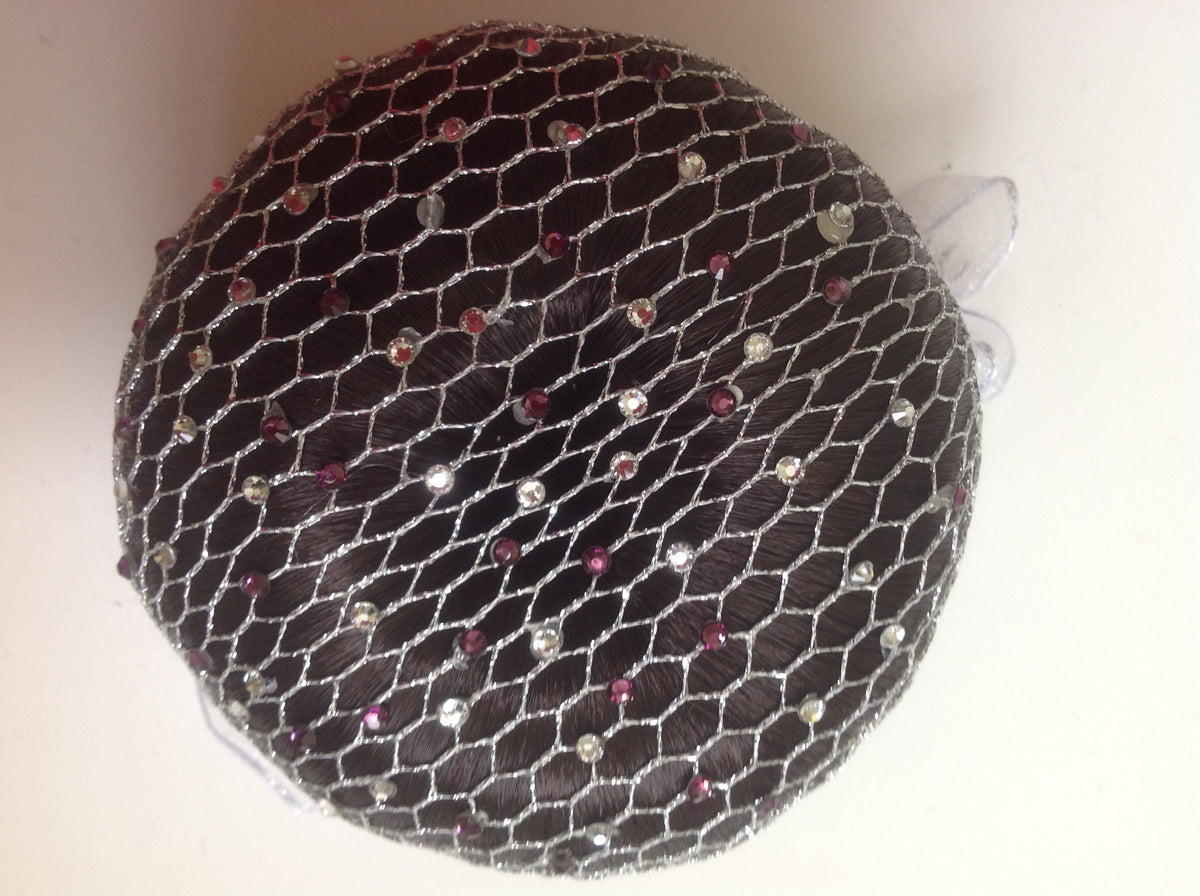 Fine Silver mesh bun nets plain, swarovski Crystals and Pearls