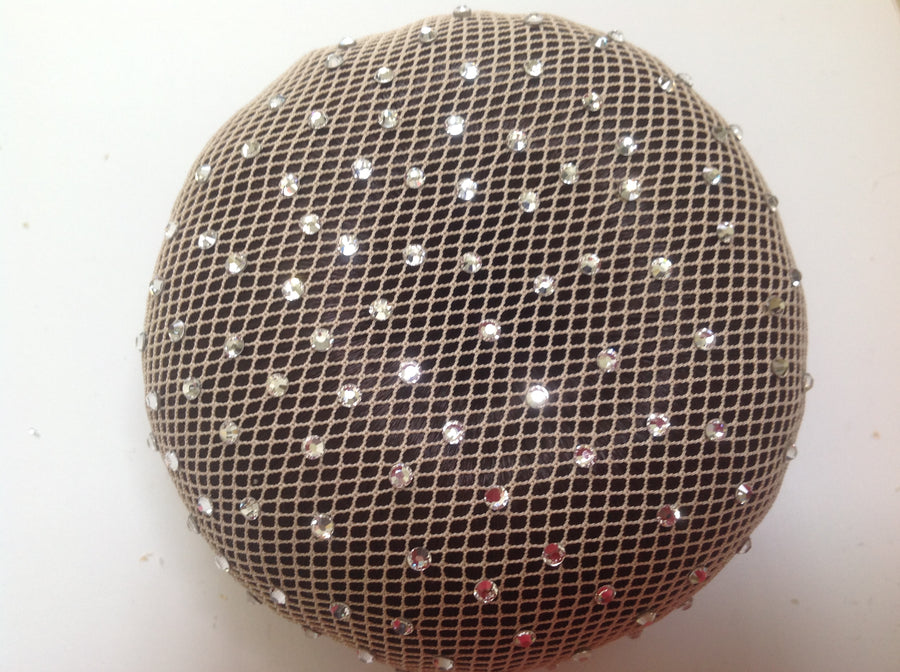 Fine Blonde mesh bun nets plain, swarovski Crystals and Pearls