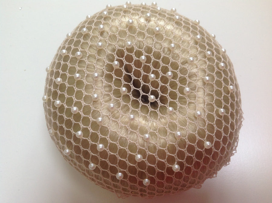 Fine Beige mesh bun nets plain, swarovski Crystals and Pearls
