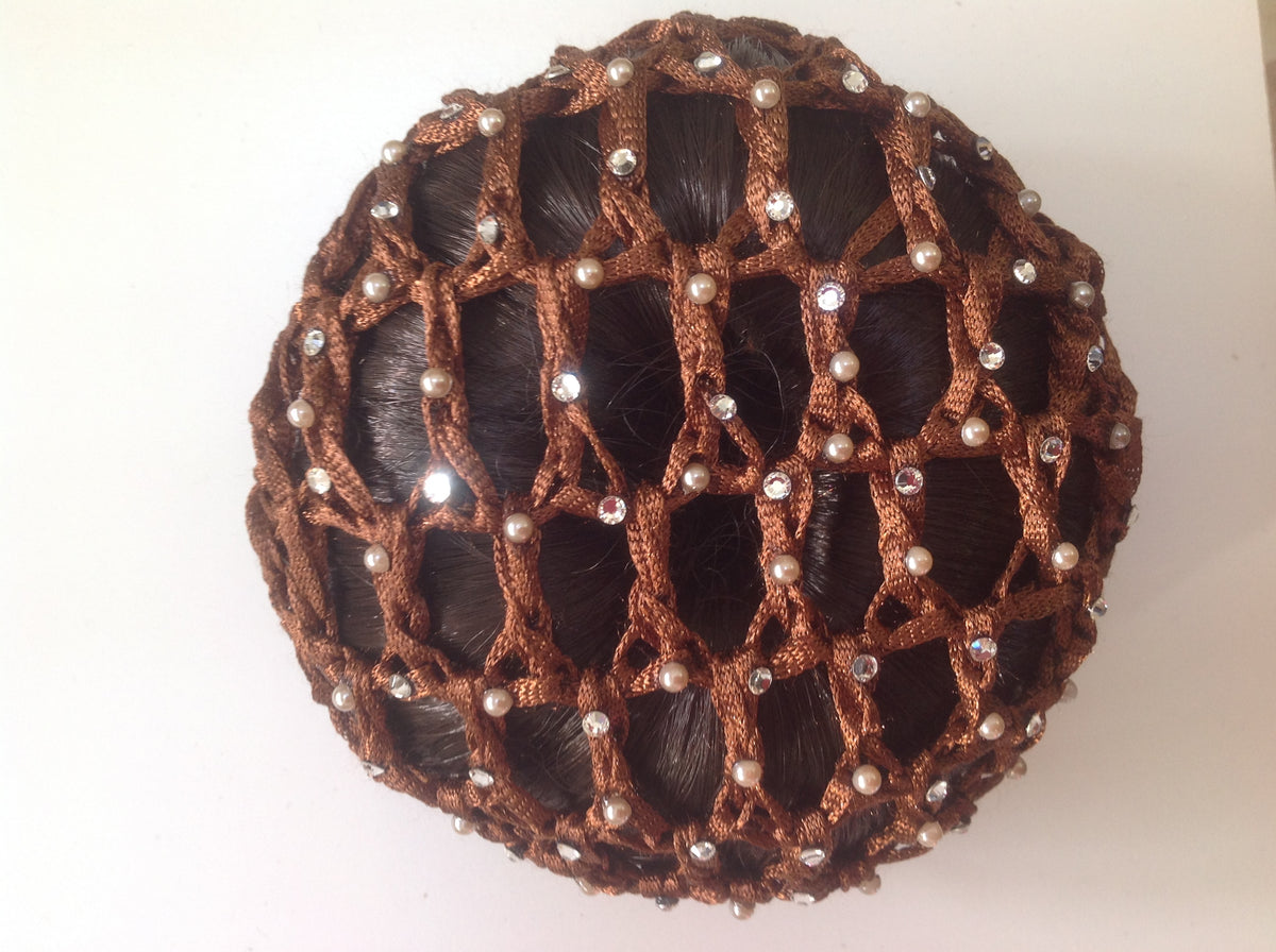 Thick Brown Bun nets, plain, swarovski Crystals and Pearls