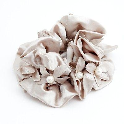 Satin Pearl Flower Beaded Scrunchie