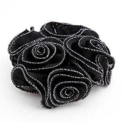 Chiffon Flower Glittering Edge Trim Scrunchie