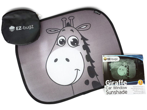 Car sun shades, Best car window shade for baby, Protect your infant & child. 2x Giraffe design sunshade car blinds by EZ-Bugz
