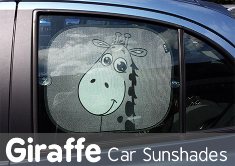 Car Sun Shades, Window Shade for Baby, Protect Your Infant and Child. 2x Giraffe Design Sunshade Car Blinds by Baby Uma